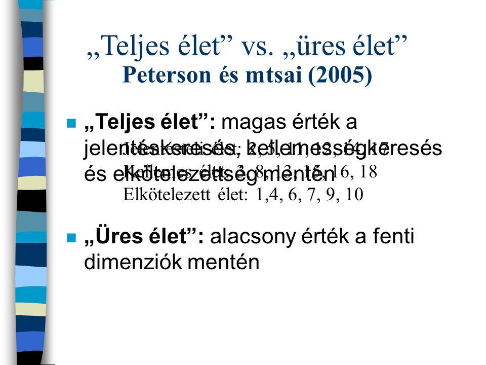 """""""Teljes élet vs. """"üres élet Peterson és mtsai (2005)"""