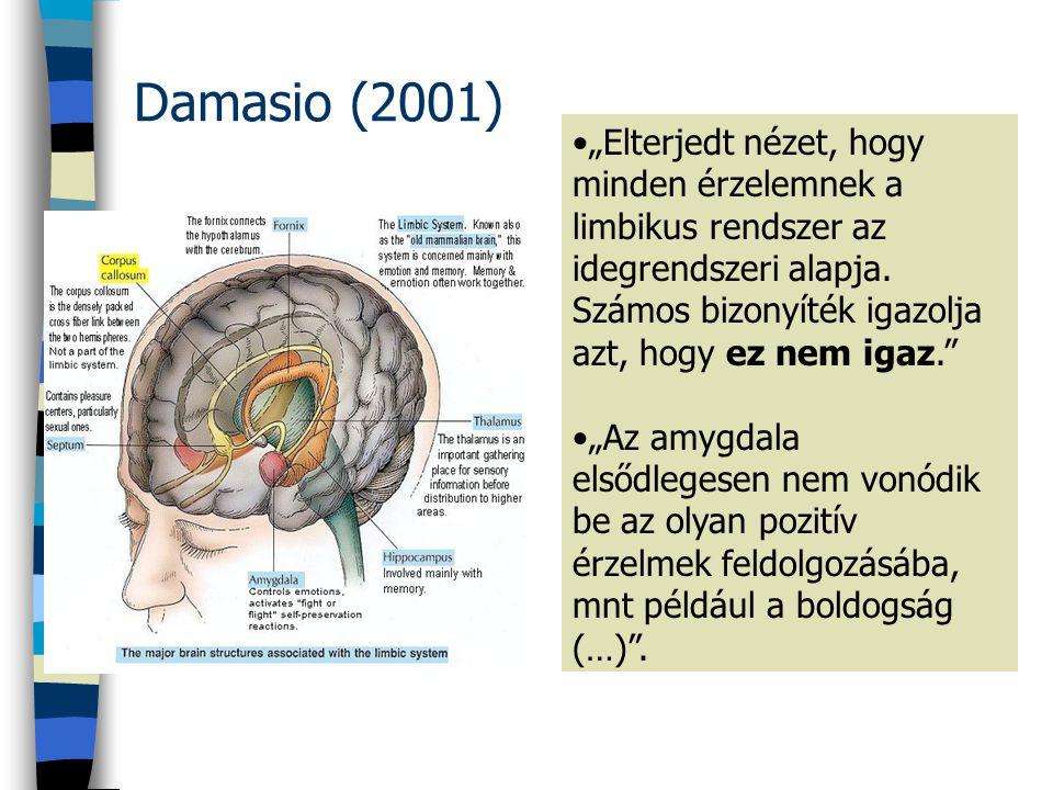 """Damasio (2001) """"Elterjedt nézet, hogy minden érzelemnek a limbikus rendszer az idegrendszeri alapja."""