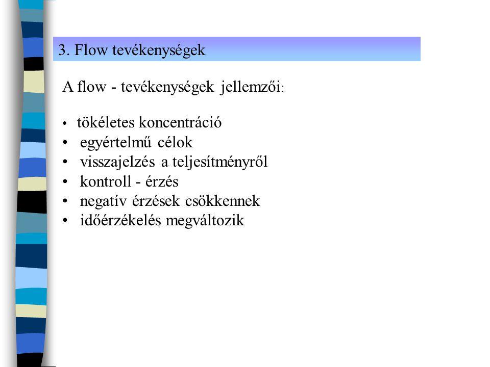 A flow - tevékenységek jellemzői: