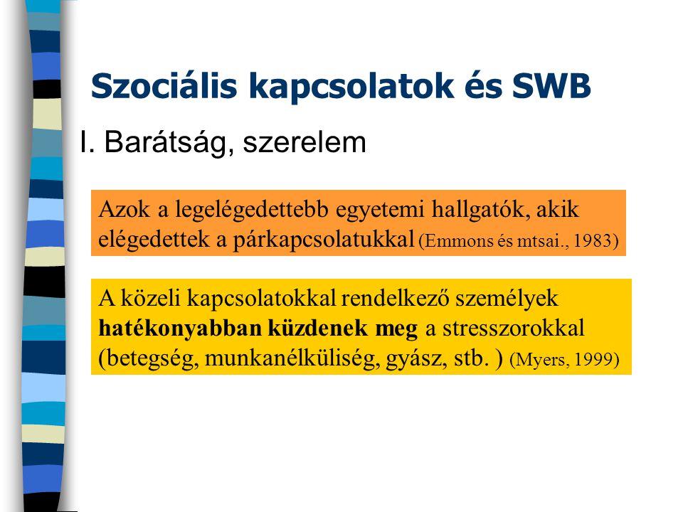 Szociális kapcsolatok és SWB