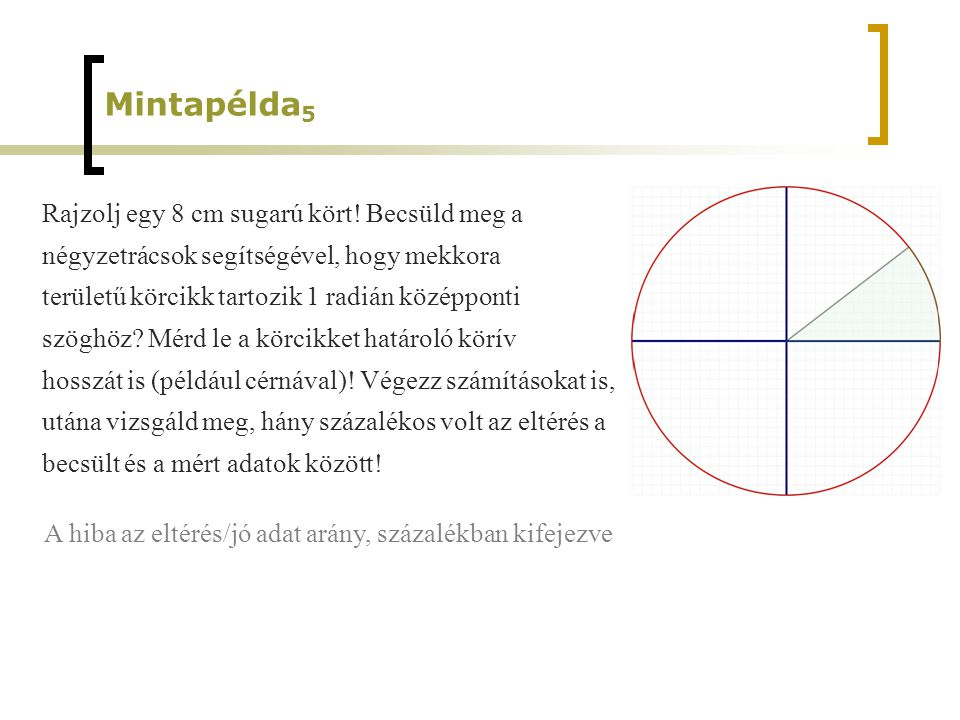 Mintapélda5 Rajzolj egy 8 cm sugarú kört! Becsüld meg a
