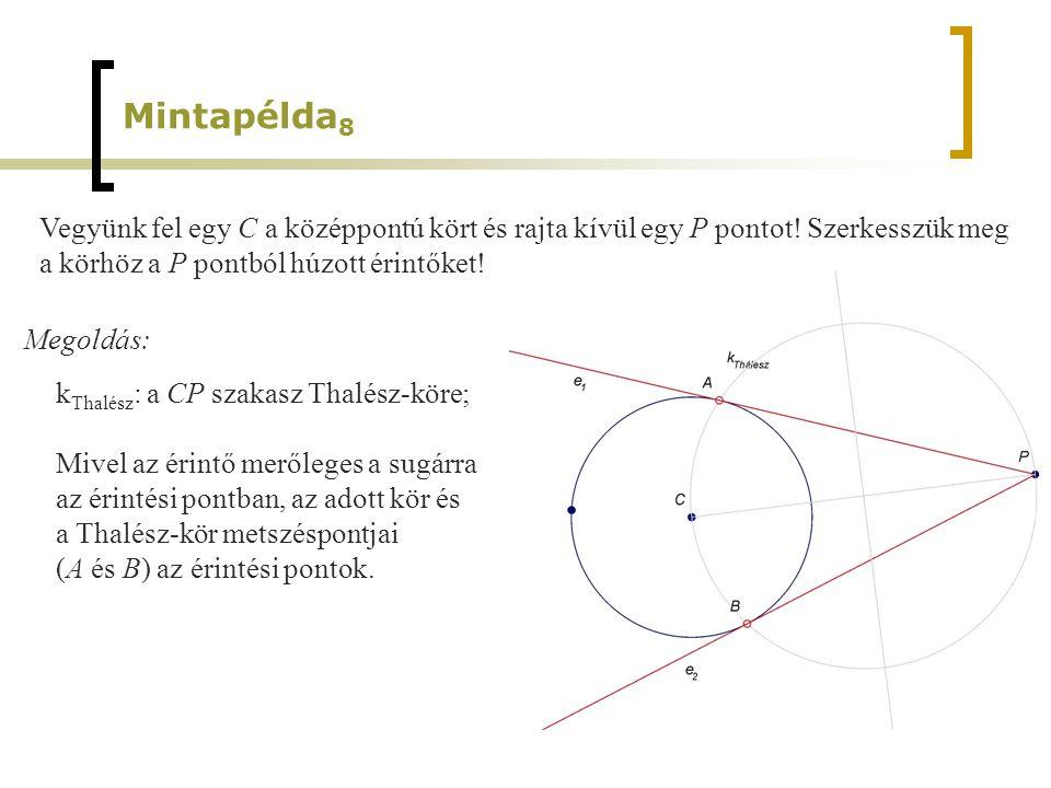 Mintapélda8 Vegyünk fel egy C a középpontú kört és rajta kívül egy P pontot! Szerkesszük meg. a körhöz a P pontból húzott érintőket!