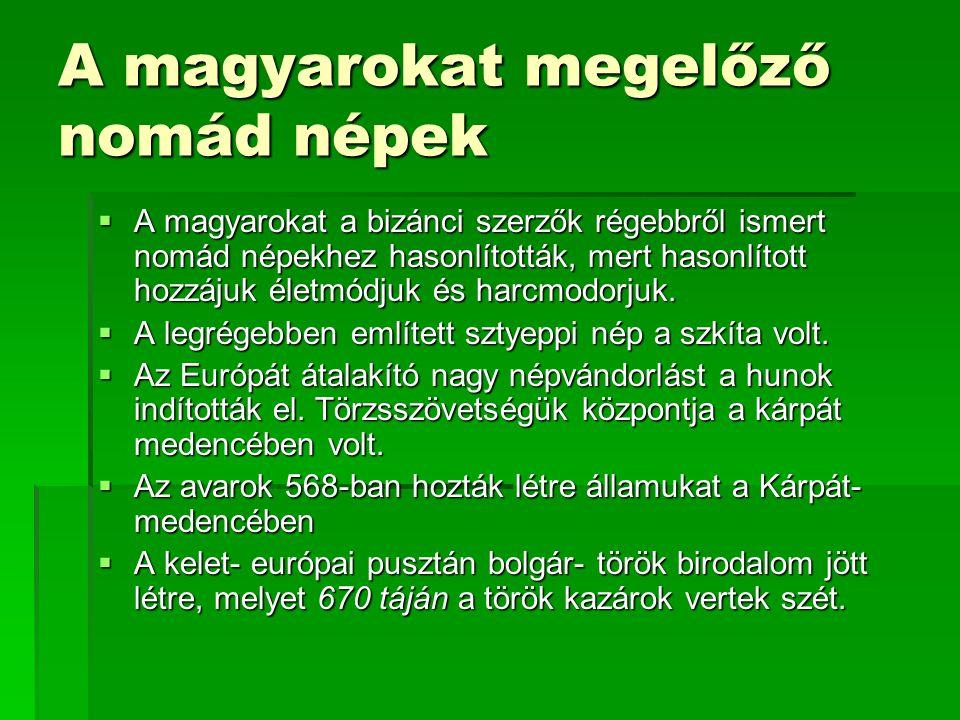 A magyarokat megelőző nomád népek