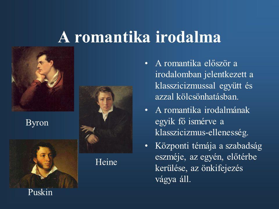 A romantika irodalma A romantika először a irodalomban jelentkezett a klasszicizmussal együtt és azzal kölcsönhatásban.