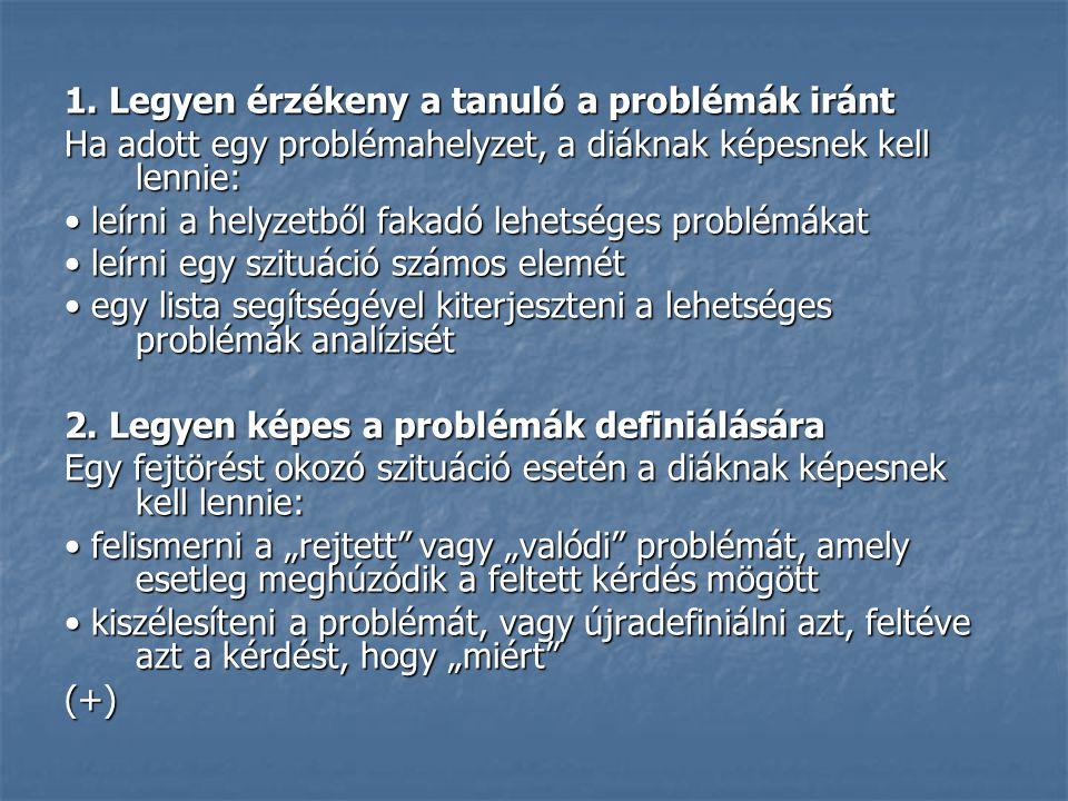 1. Legyen érzékeny a tanuló a problémák iránt