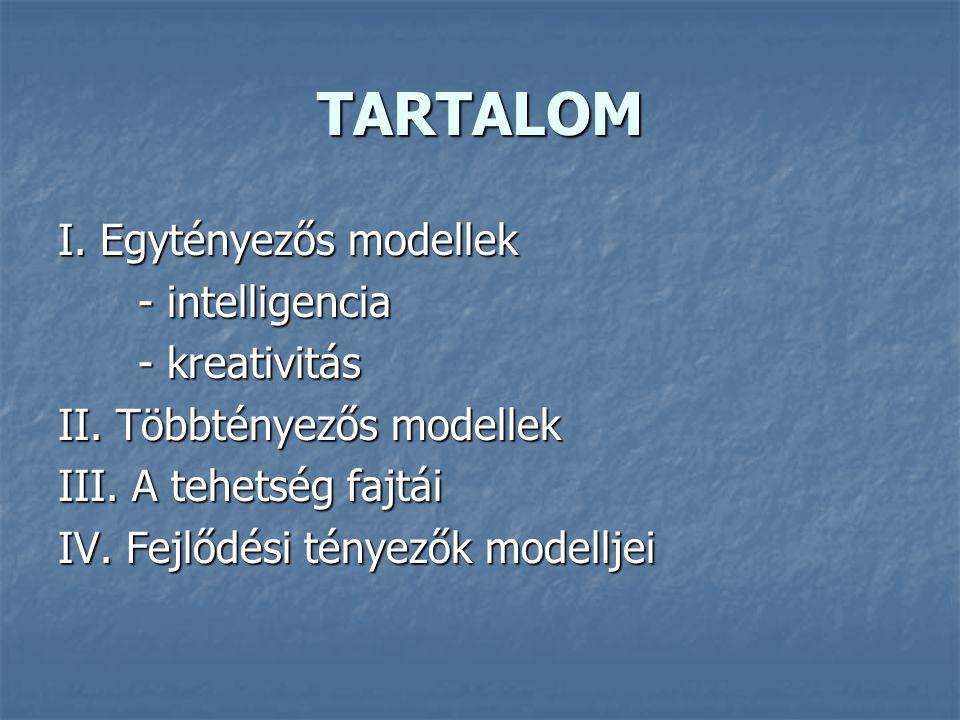 TARTALOM I. Egytényezős modellek - intelligencia - kreativitás