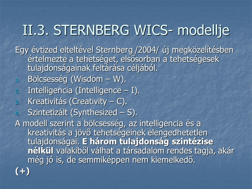 II.3. STERNBERG WICS- modellje