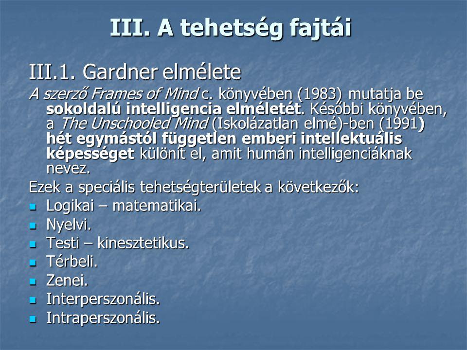 III. A tehetség fajtái III.1. Gardner elmélete