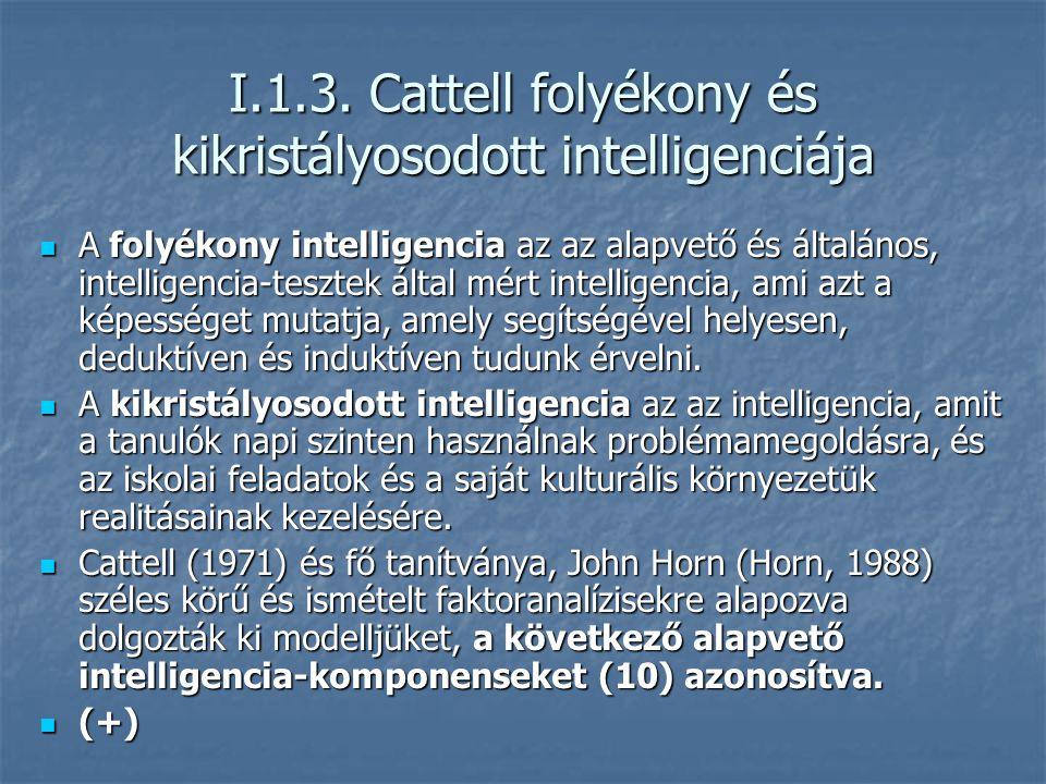I.1.3. Cattell folyékony és kikristályosodott intelligenciája