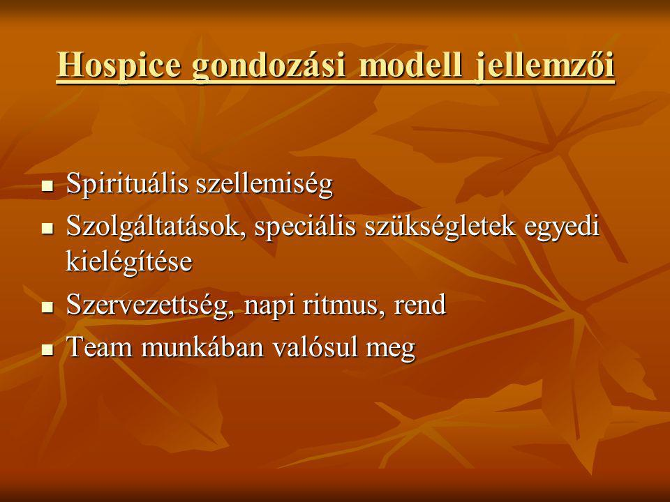 Hospice gondozási modell jellemzői