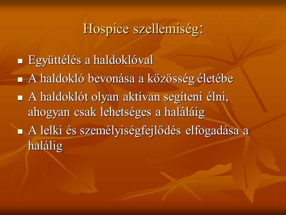 Hospice szellemiség: Együttélés a haldoklóval