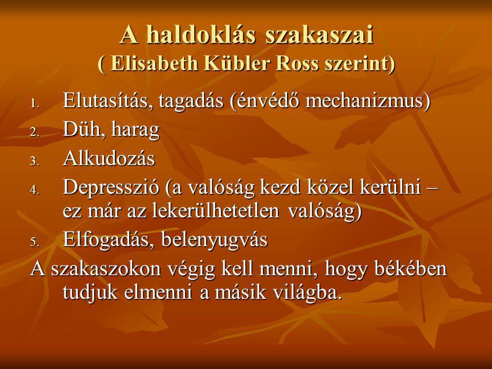 A haldoklás szakaszai ( Elisabeth Kübler Ross szerint)