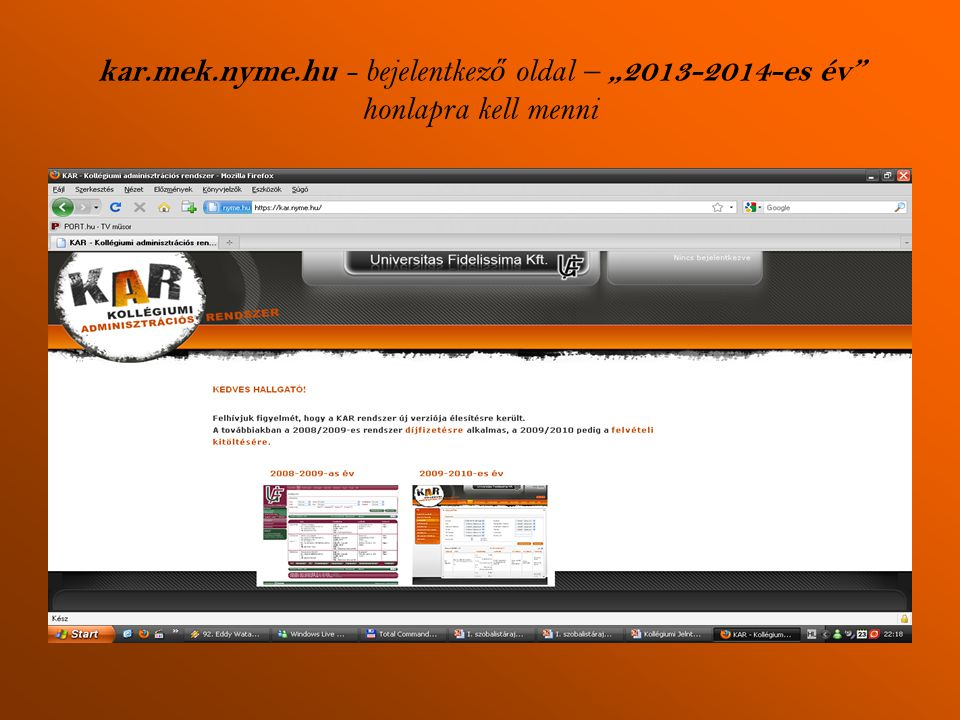"""kar.mek.nyme.hu - bejelentkező oldal – """"2013-2014-es év honlapra kell menni"""