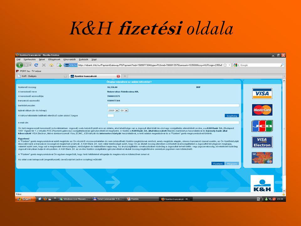 K&H fizetési oldala