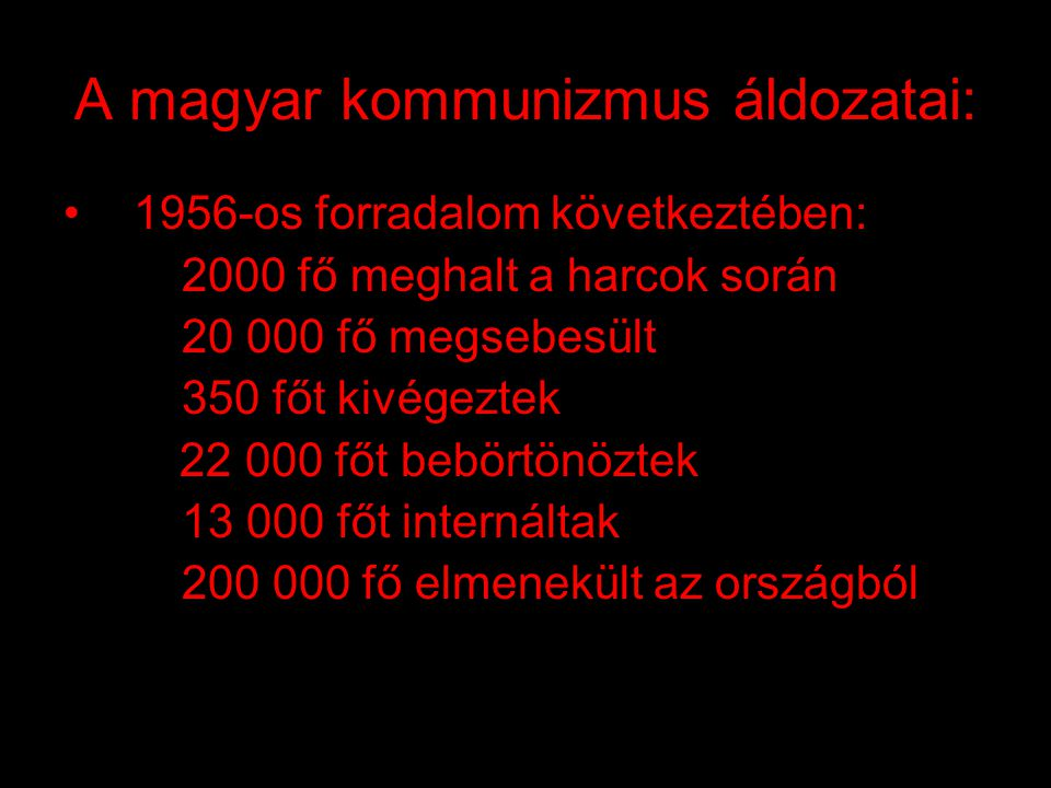 A magyar kommunizmus áldozatai: