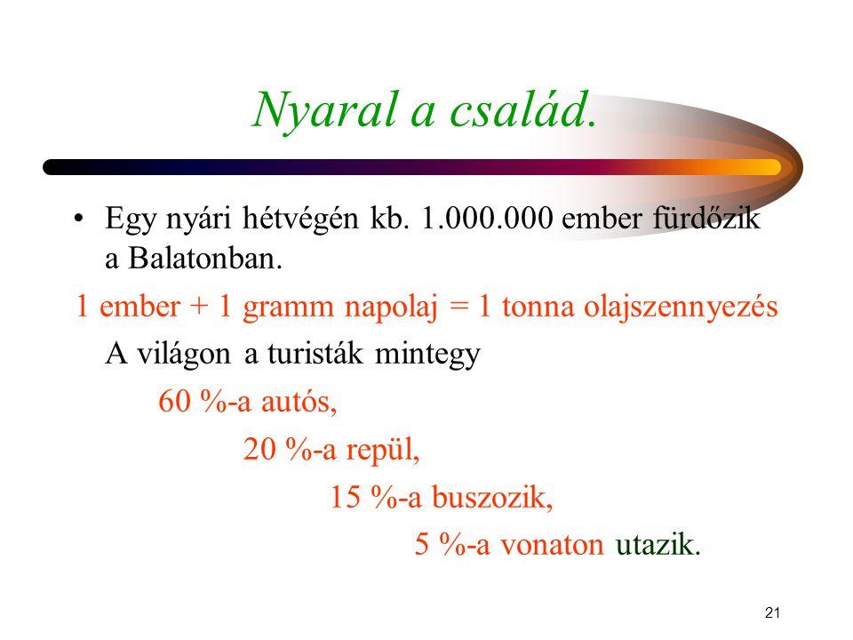 1 ember + 1 gramm napolaj = 1 tonna olajszennyezés