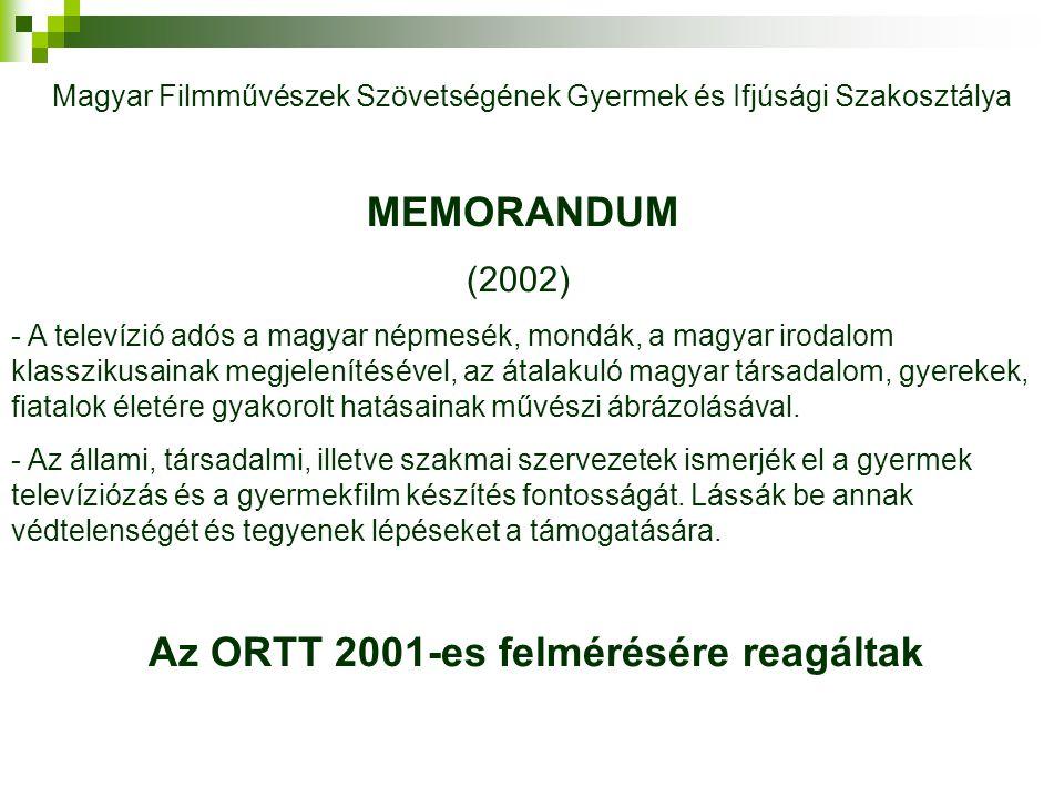 Az ORTT 2001-es felmérésére reagáltak