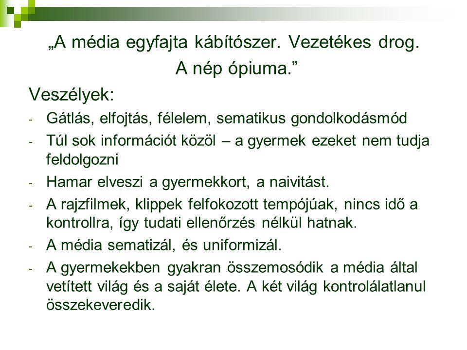 """""""A média egyfajta kábítószer. Vezetékes drog."""