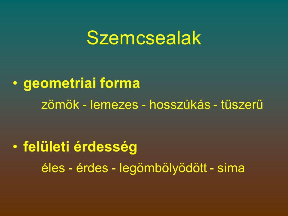 Szemcsealak geometriai forma felületi érdesség