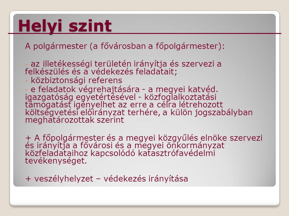 Helyi szint A polgármester (a fővárosban a főpolgármester):