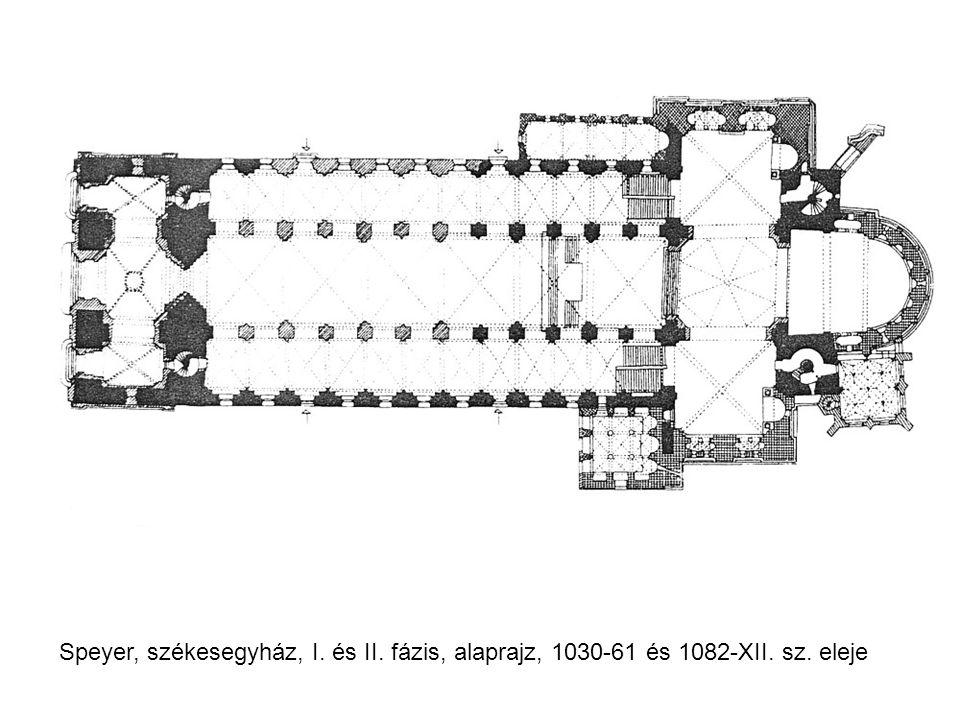 Speyer, székesegyház, I. és II. fázis, alaprajz, 1030-61 és 1082-XII