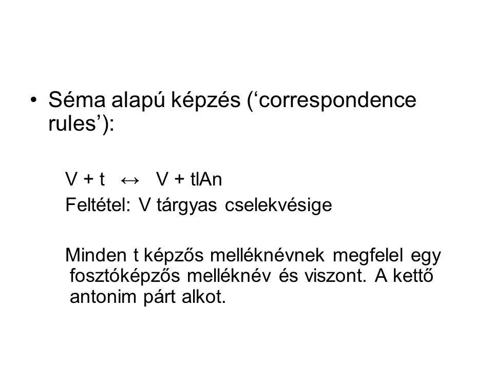 Séma alapú képzés ('correspondence rules'):