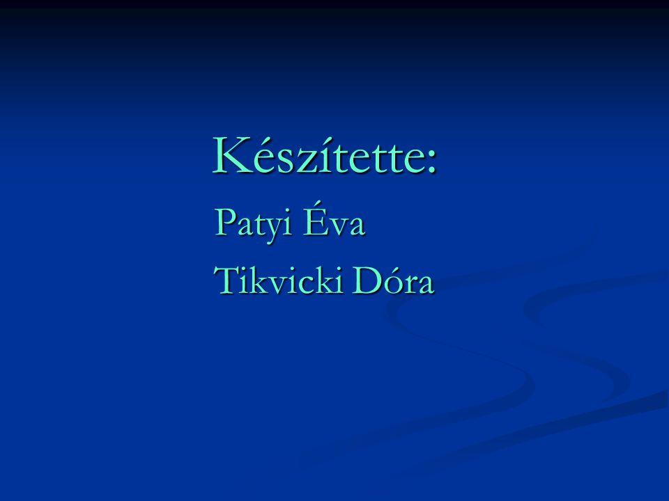 Készítette: Patyi Éva Tikvicki Dóra