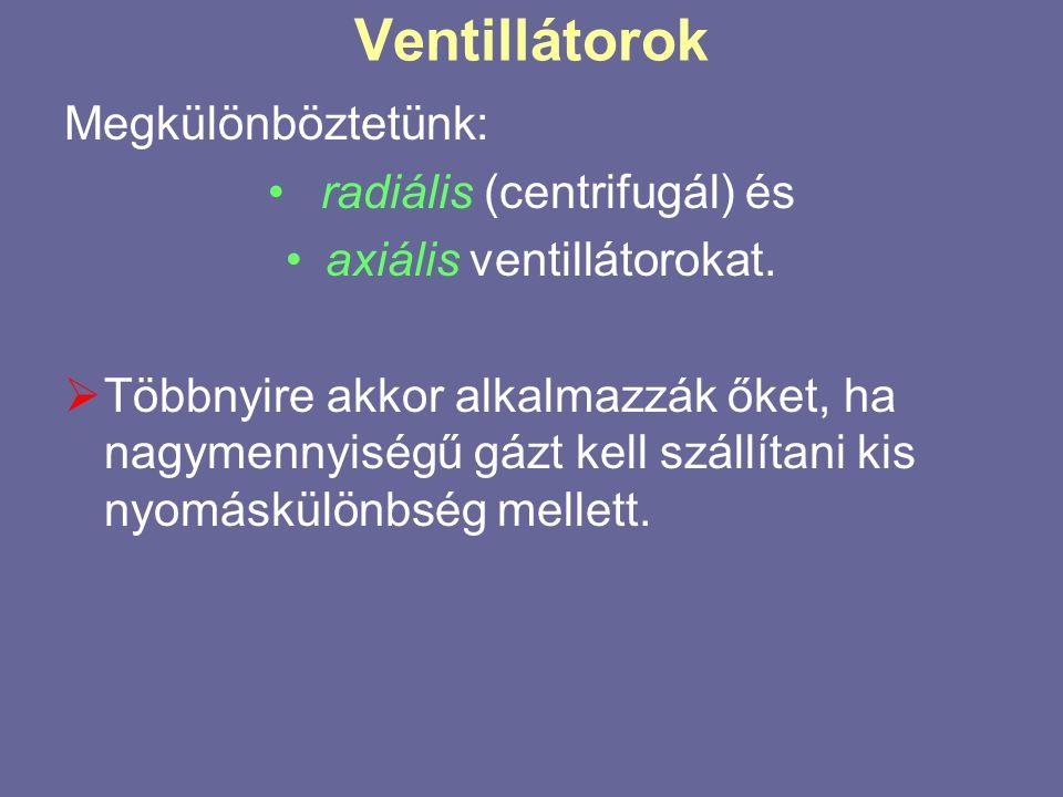 Ventillátorok Megkülönböztetünk: radiális (centrifugál) és