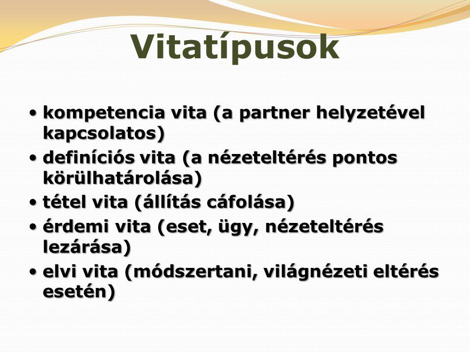 Vitatípusok kompetencia vita (a partner helyzetével kapcsolatos)