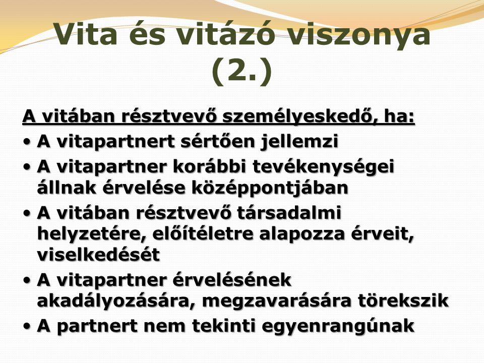 Vita és vitázó viszonya (2.)