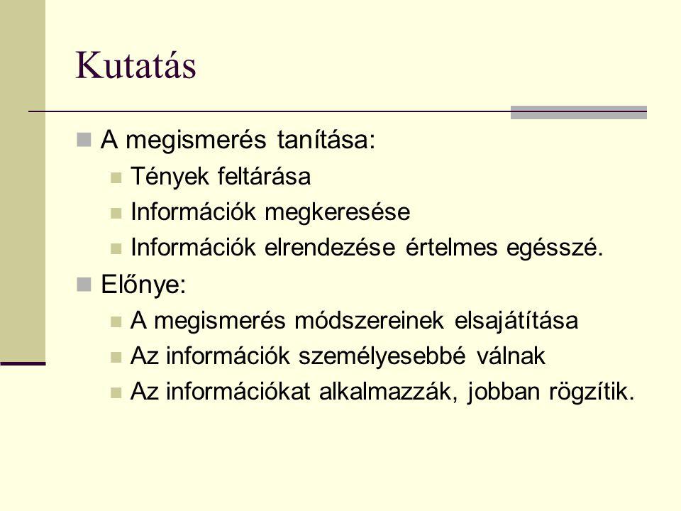 Kutatás A megismerés tanítása: Előnye: Tények feltárása