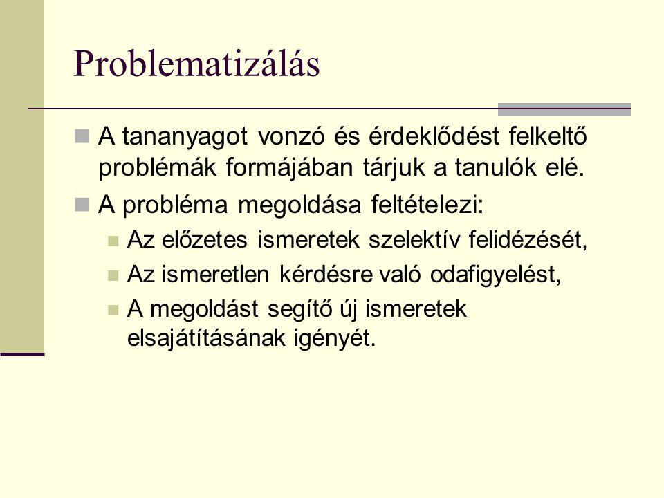 Problematizálás A tananyagot vonzó és érdeklődést felkeltő problémák formájában tárjuk a tanulók elé.