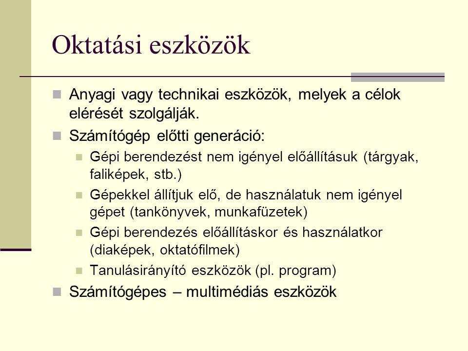 Oktatási eszközök Anyagi vagy technikai eszközök, melyek a célok elérését szolgálják. Számítógép előtti generáció: