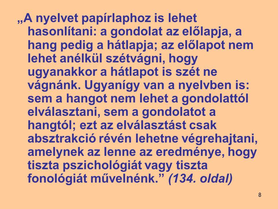 """""""A nyelvet papírlaphoz is lehet hasonlítani: a gondolat az előlapja, a hang pedig a hátlapja; az előlapot nem lehet anélkül szétvágni, hogy ugyanakkor a hátlapot is szét ne vágnánk."""