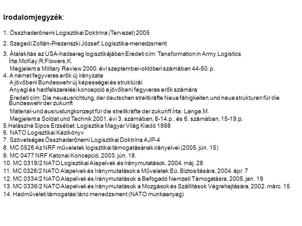 Irodalomjegyzék: 1. Összhaderőnemi Logisztikai Doktrína (Tervezet) 2005. 2. Szegedi Zoltán-Prezenszki József: Logisztika-menedzsment.