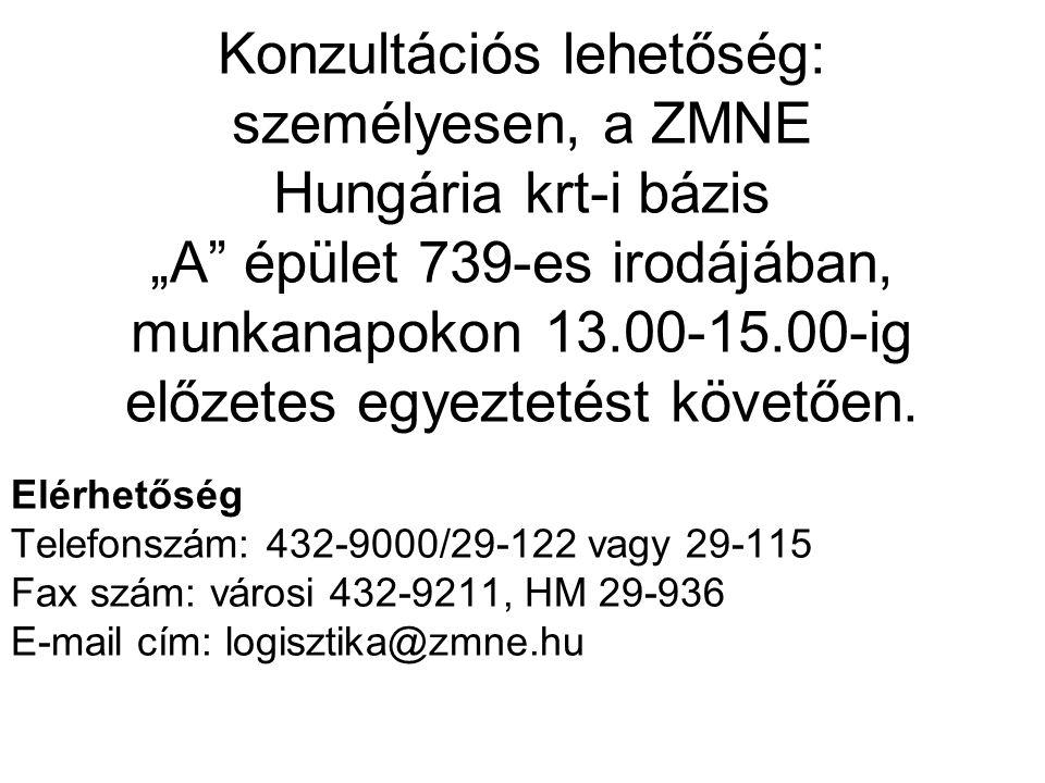 """Konzultációs lehetőség: személyesen, a ZMNE Hungária krt-i bázis """"A épület 739-es irodájában, munkanapokon 13.00-15.00-ig előzetes egyeztetést követően."""