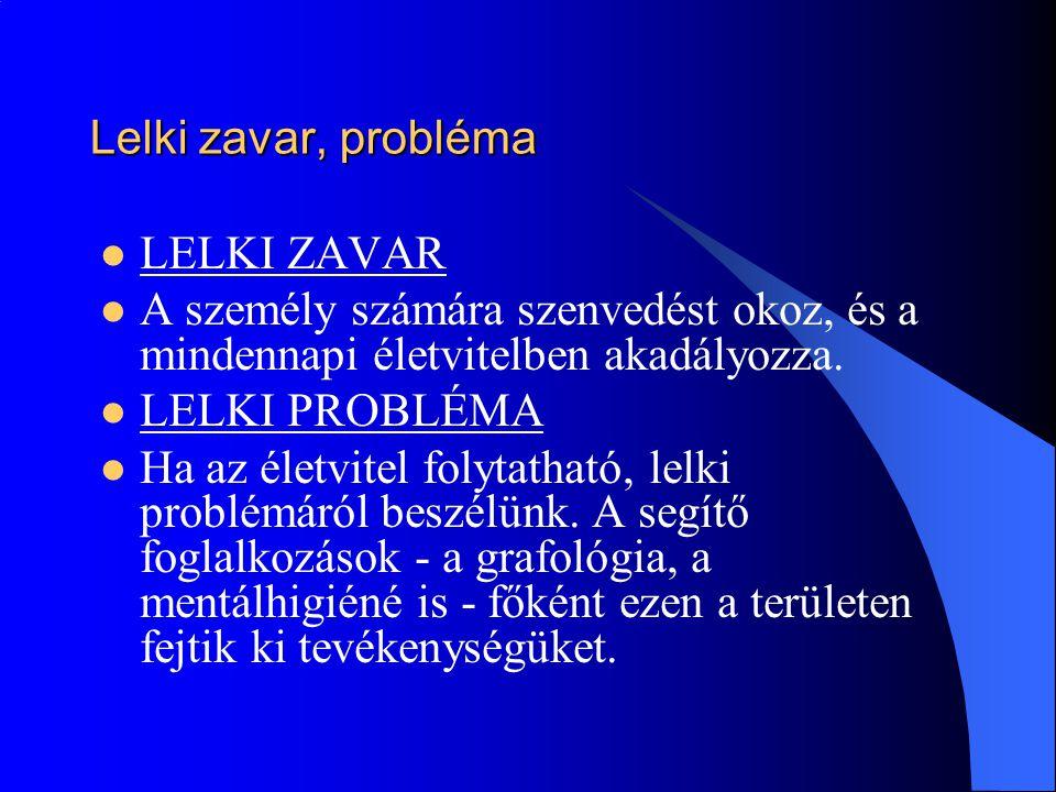 Lelki zavar, probléma LELKI ZAVAR. A személy számára szenvedést okoz, és a mindennapi életvitelben akadályozza.