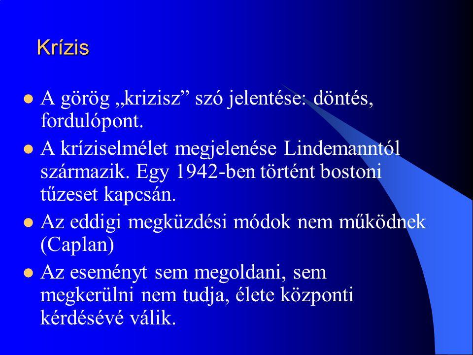 """Krízis A görög """"krizisz szó jelentése: döntés, fordulópont."""