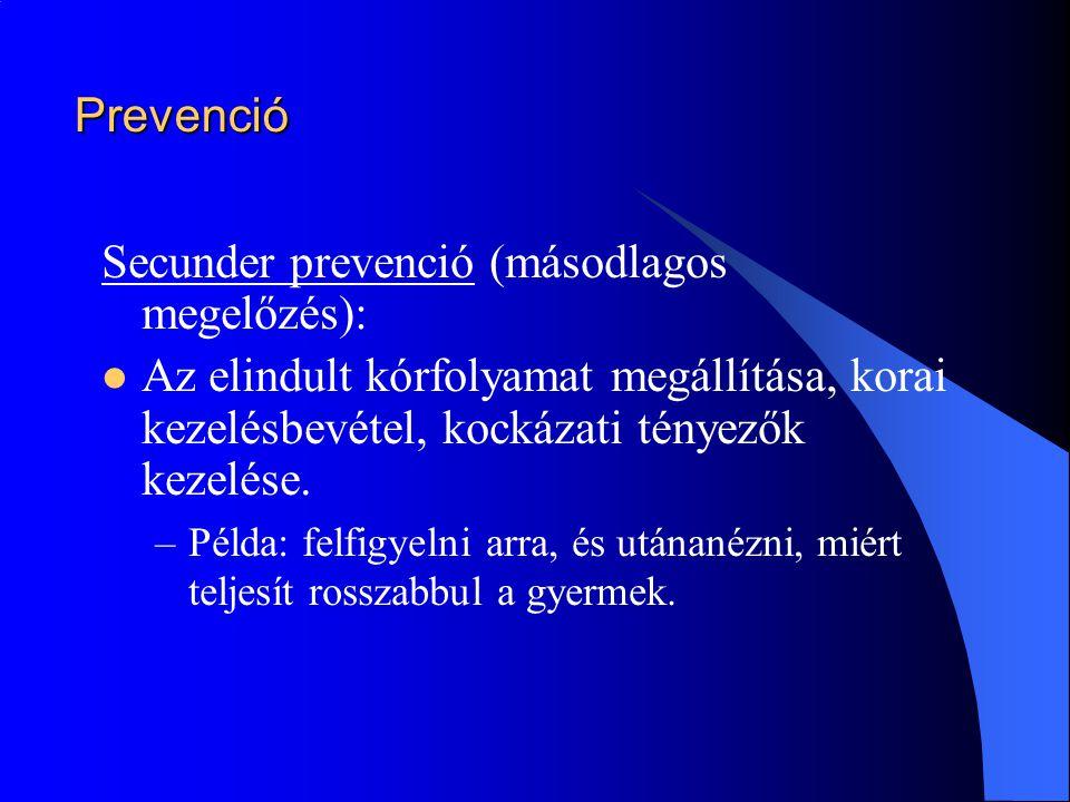 Secunder prevenció (másodlagos megelőzés):