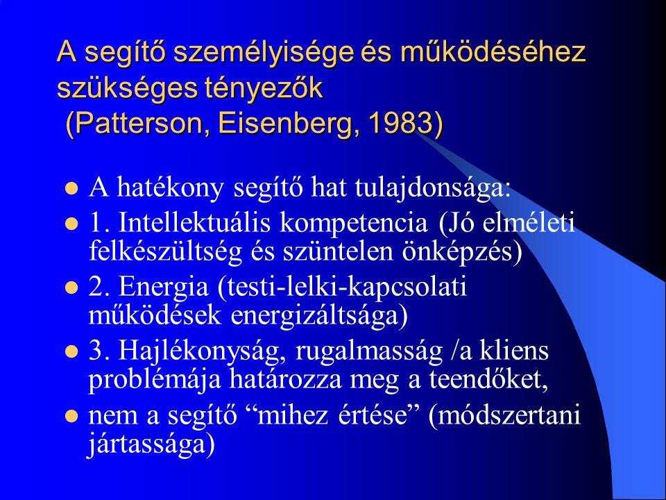 A segítő személyisége és működéséhez szükséges tényezők (Patterson, Eisenberg, 1983)