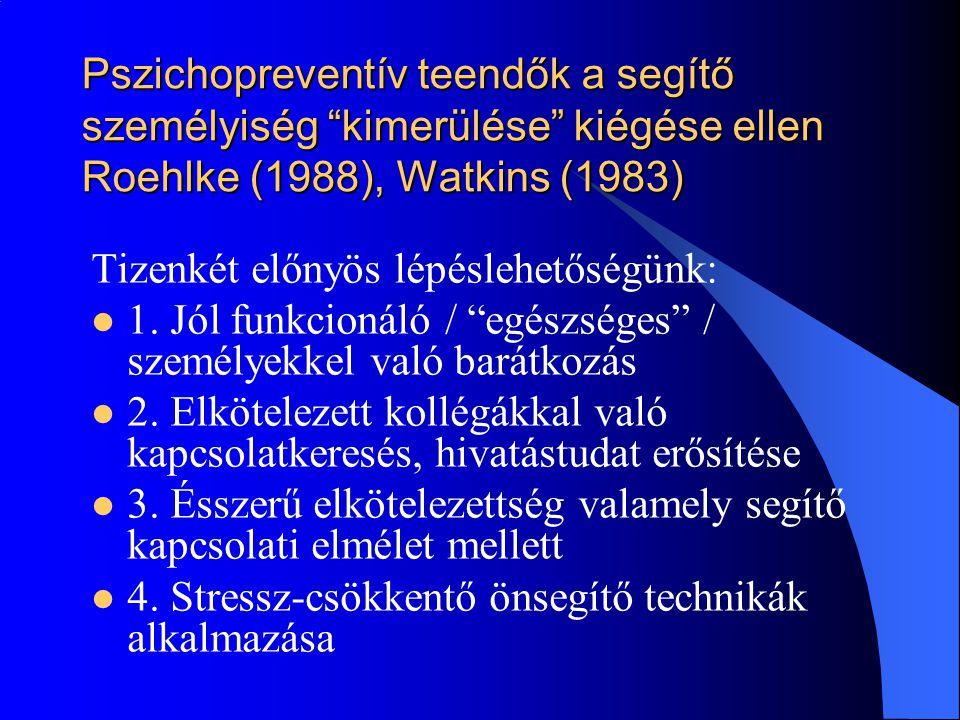 Pszichopreventív teendők a segítő személyiség kimerülése kiégése ellen Roehlke (1988), Watkins (1983)
