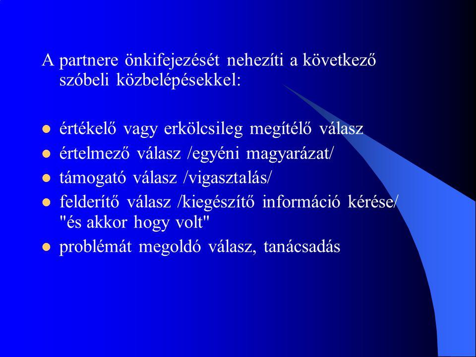 A partnere önkifejezését nehezíti a következő szóbeli közbelépésekkel: