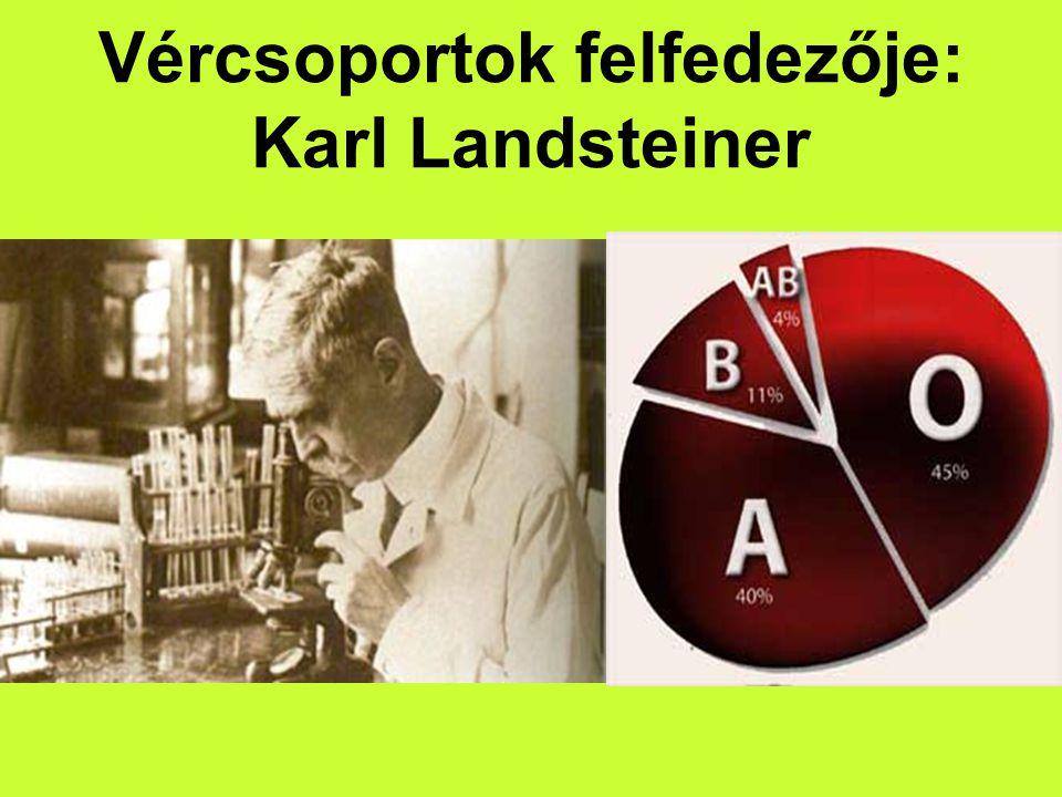 Vércsoportok felfedezője: Karl Landsteiner