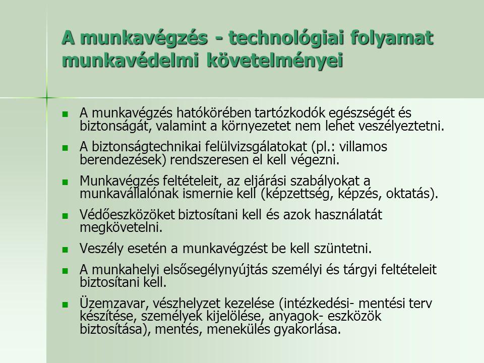 A munkavégzés - technológiai folyamat munkavédelmi követelményei