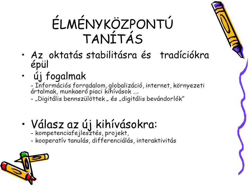 ÉLMÉNYKÖZPONTÚ TANÍTÁS
