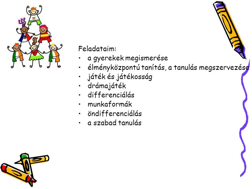 Feladataim: a gyerekek megismerése. élményközpontú tanítás, a tanulás megszervezése. játék és játékosság.