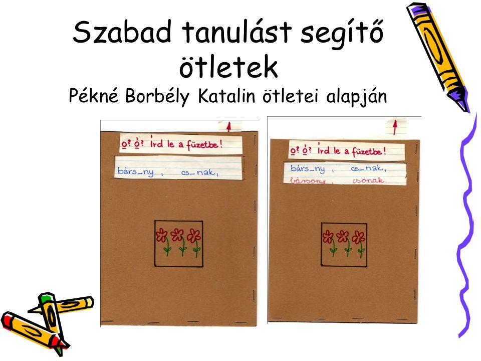 Szabad tanulást segítő ötletek Pékné Borbély Katalin ötletei alapján