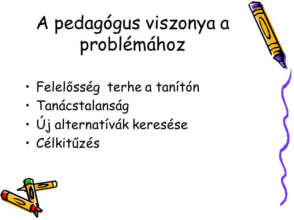 A pedagógus viszonya a problémához