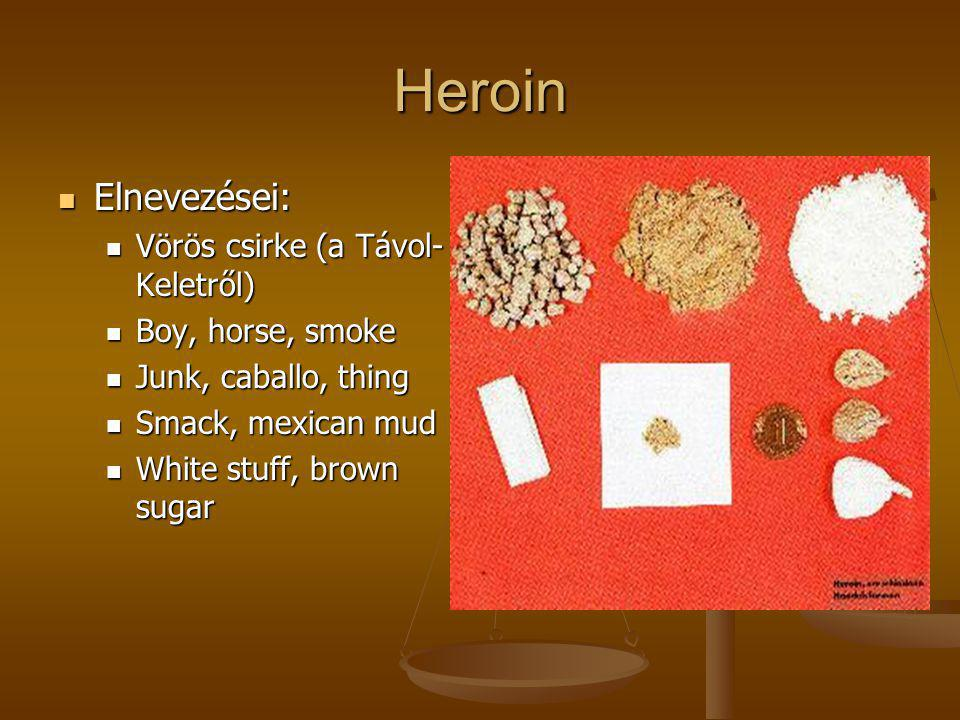Heroin Elnevezései: Vörös csirke (a Távol-Keletről) Boy, horse, smoke