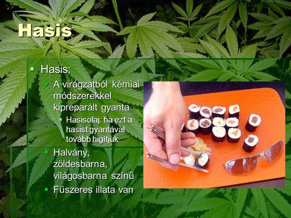 Hasis Hasis: A virágzatból kémiai módszerekkel kipreparált gyanta